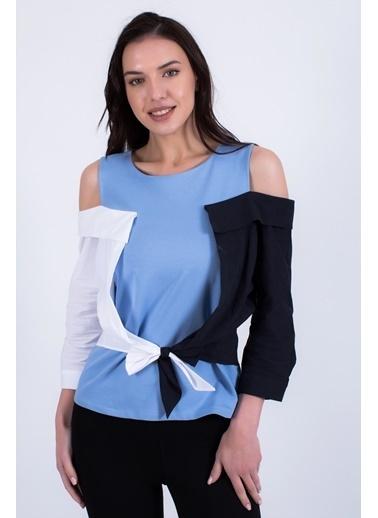 Clıche  Düşük Omuzlu Bluz. Mavi
